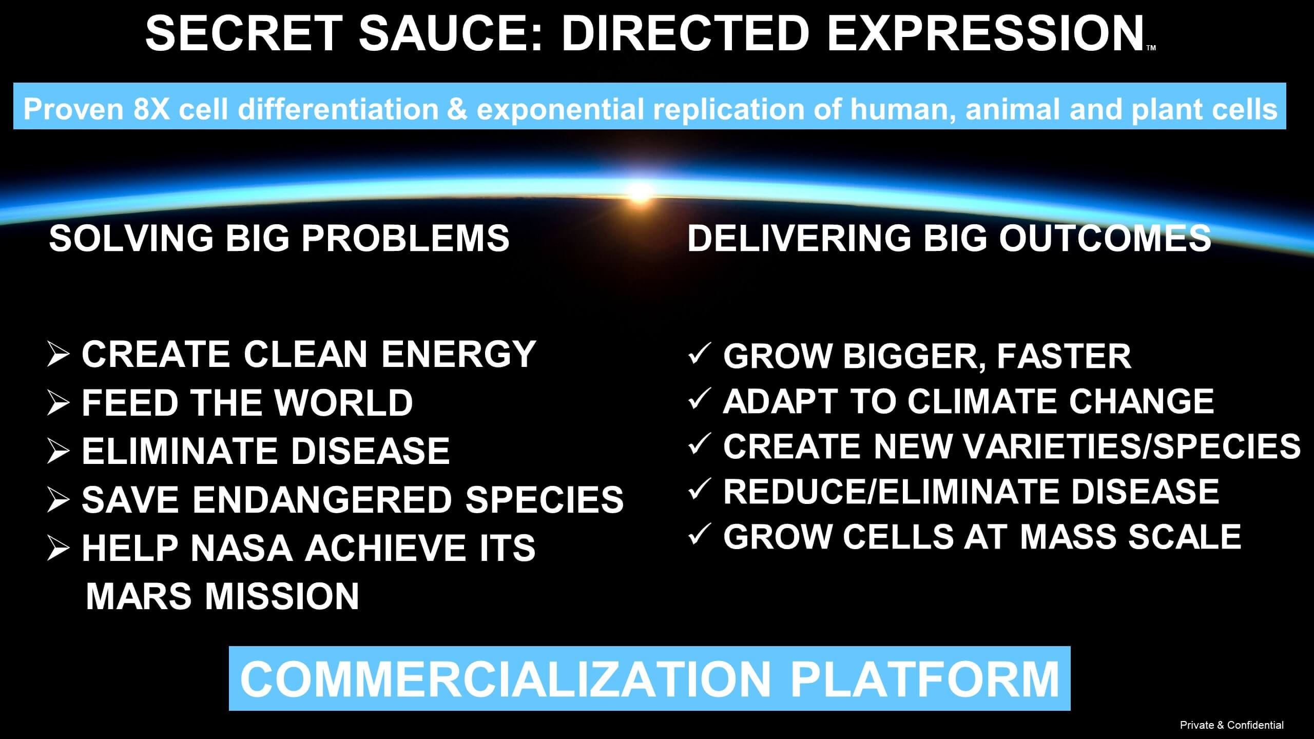 Proven 8X cell differentiation & exponential replication of human, animal and plant cells